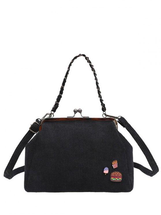 Ribbed Chain Kiss-Lock Closure Tote Bag - BLACK  Mobile