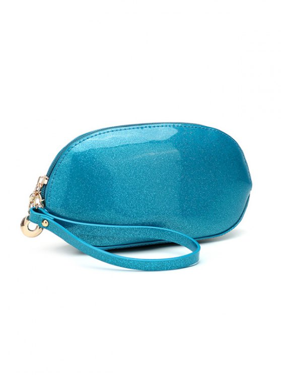 Glitter Zip Around Patent Leather Wristlet - BLUE  Mobile
