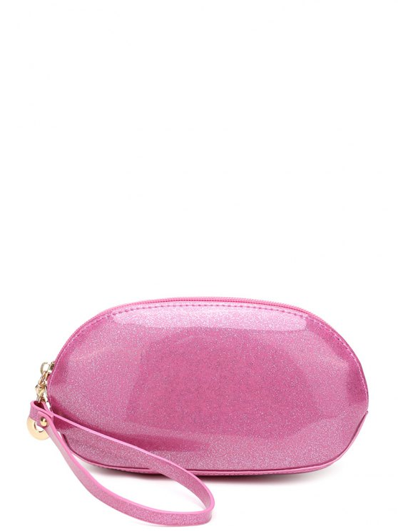 Glitter Zip Around Patent Leather Wristlet - PINK  Mobile