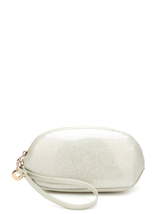 Glitter Zip Around Patent Leather Wristlet - OFF-WHITE  Mobile