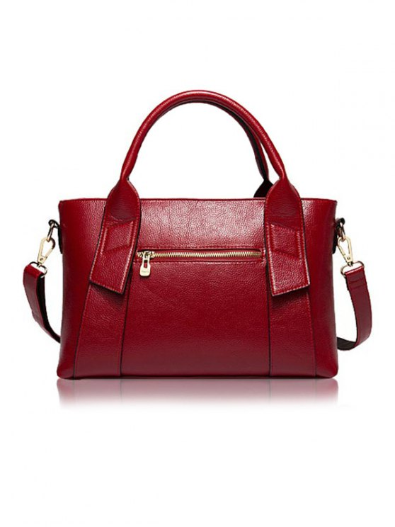 Textured PU Leather Handbag Set - WINE RED  Mobile