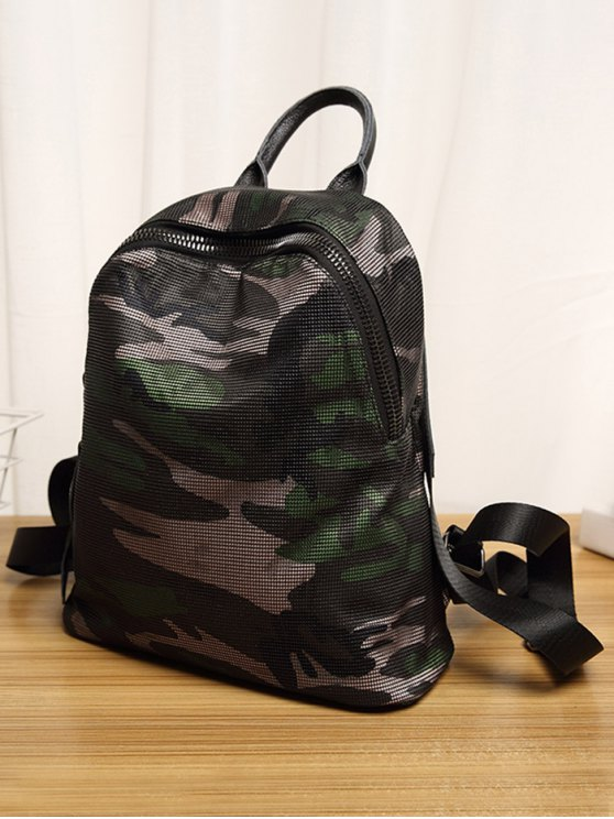 Camo Print Mesh Panel Backpack - GREEN  Mobile