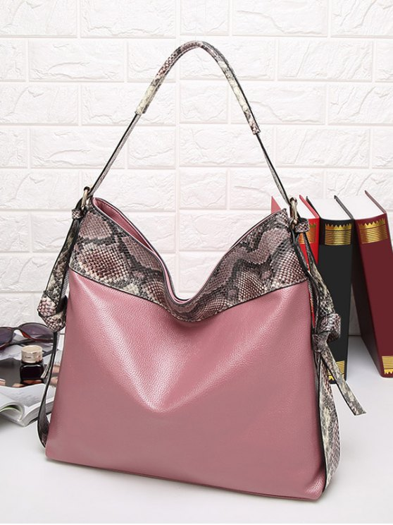 Snake Print Panel Shoulder Bag - PINK  Mobile