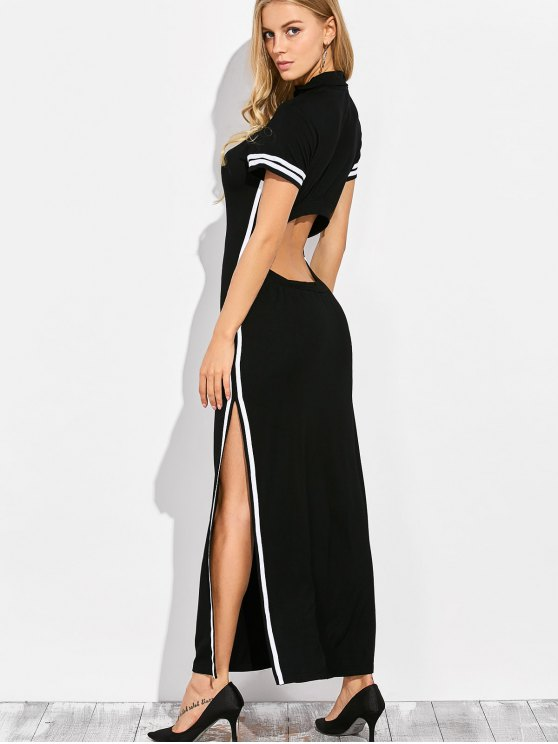 Cut Out Side Slit Maxi Dress - BLACK 2XL Mobile