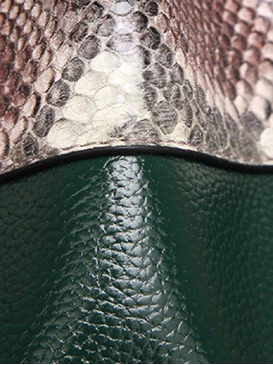 Snake Print Panel Bucket Bag - BLACKISH GREEN  Mobile