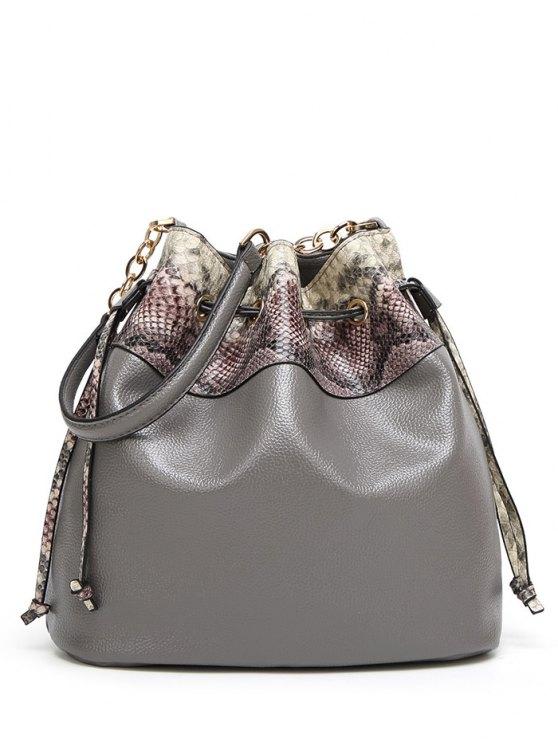 Snake Print Panel Bucket Bag - GRAY  Mobile