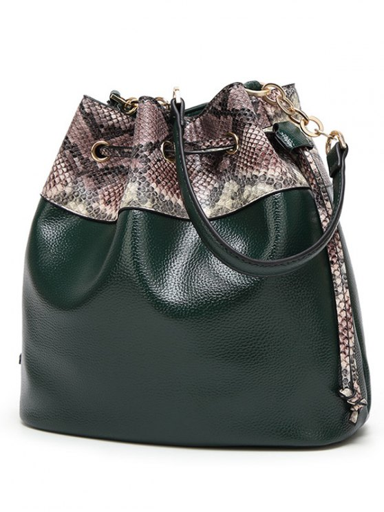 Snake Print Panel Bucket Bag - PINK  Mobile