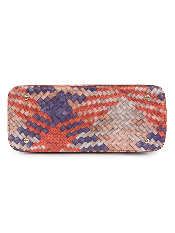 Colored Woven PU Leather Shouder Bag - ORANGE  Mobile