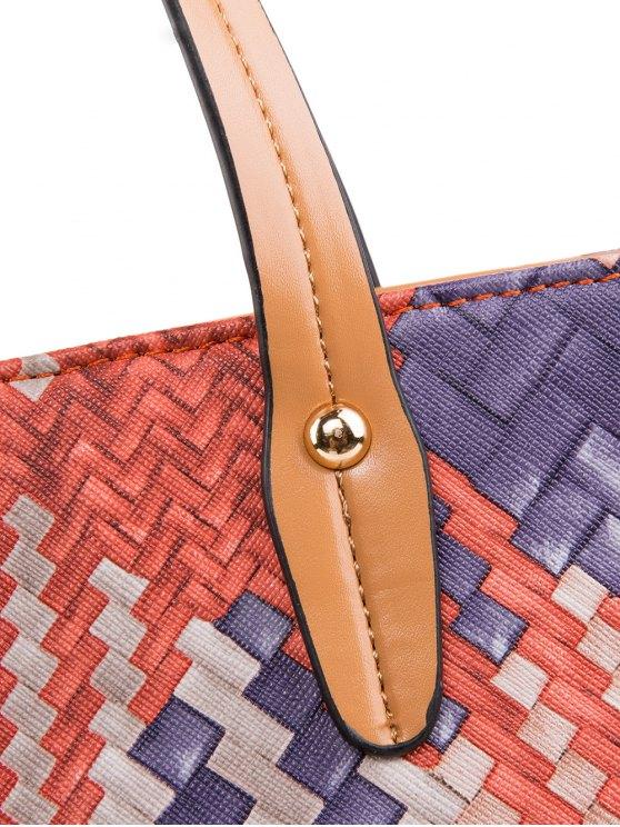 Colored Woven PU Leather Shouder Bag - ORANGE  Mobile