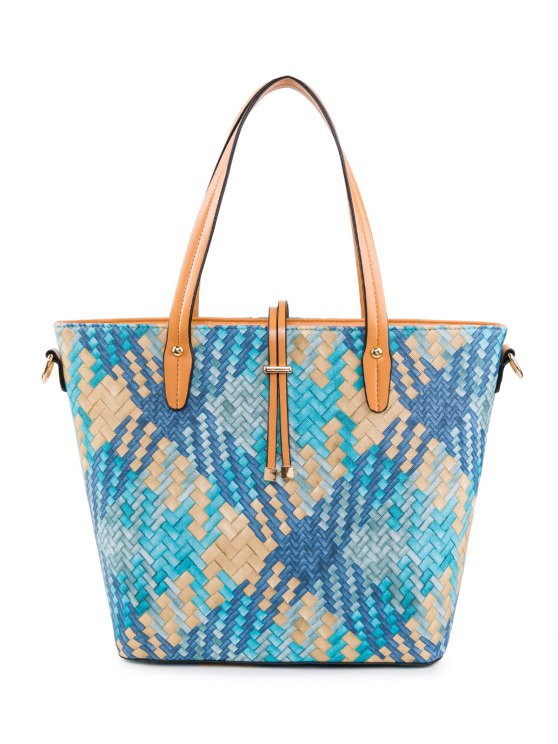 Colored Woven PU Leather Shouder Bag - BLUE  Mobile