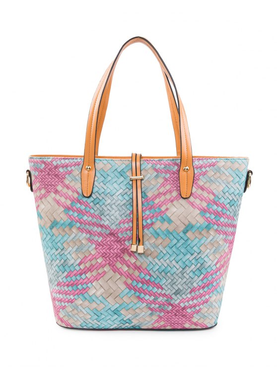 Colored Woven PU Leather Shouder Bag - ROSE RED  Mobile