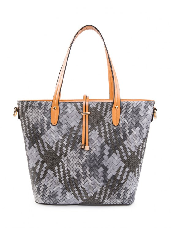 Colored Woven PU Leather Shouder Bag - BLACK  Mobile