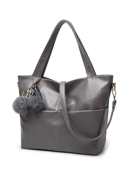 Pompons PU Leather Shouder Bag - GRAY  Mobile