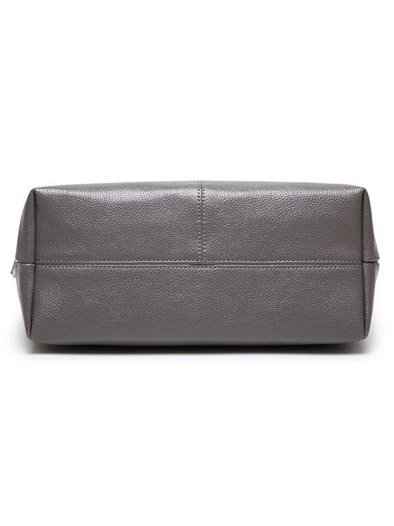 Pompons PU Leather Shouder Bag - BLUE  Mobile