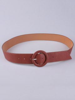 PU Round Buckle Belt - Chocolate