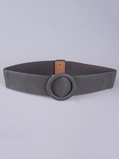 Round Buckle Stretch Belt - Gray