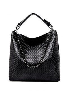 Argyle Double Buckle Chain Tote Bag - Black