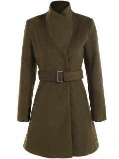 Belted High Neck Skater Coat - Army Green Xl