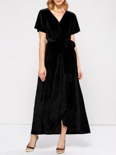 Velvet Wrap Asymmetric Short Sleeve Maxi Dress - Black L