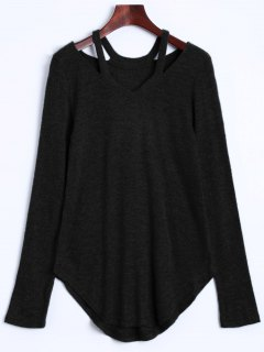 Cut Out Pullover Sweater - Black Xl
