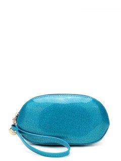 Glitter Zip Around Patent Leather Wristlet - Blue