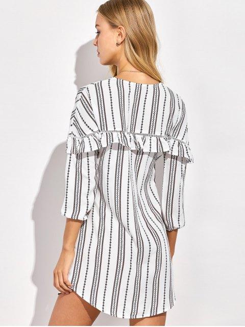 women's Round Neck Ruffles Striped Shift Dress - WHITE 2XL Mobile