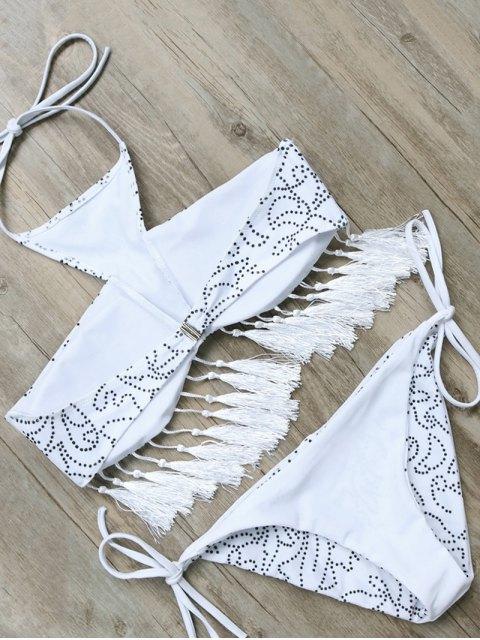 hot Tassels Halter Printed String Bikini - WHITE M Mobile