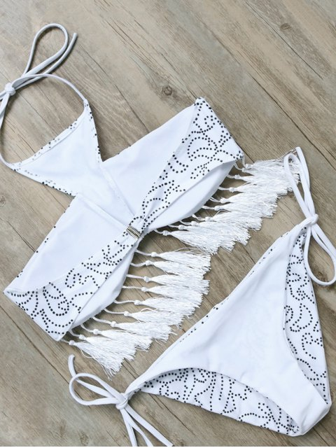 outfit Tassels Halter Printed String Bikini - WHITE S Mobile