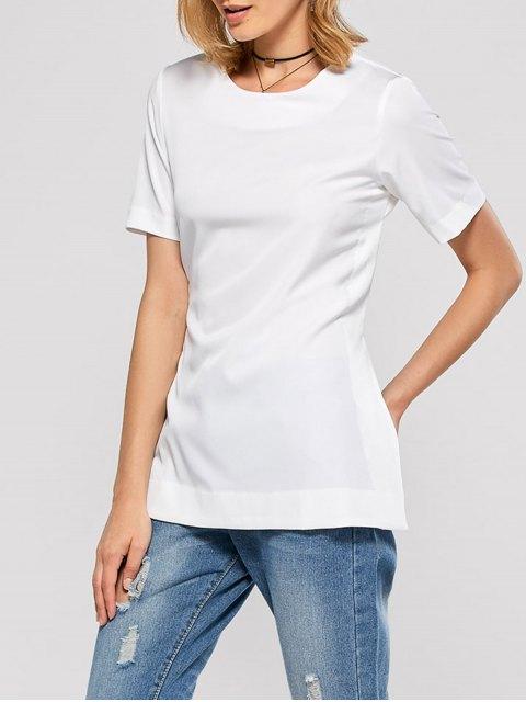 women Short Sleeve Open Back Tee - WHITE XL Mobile