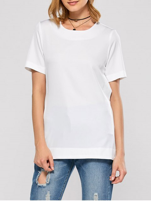 lady Short Sleeve Open Back Tee - WHITE S Mobile
