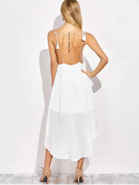sale Sexy Backless High Low Slip Dress - WHITE L Mobile