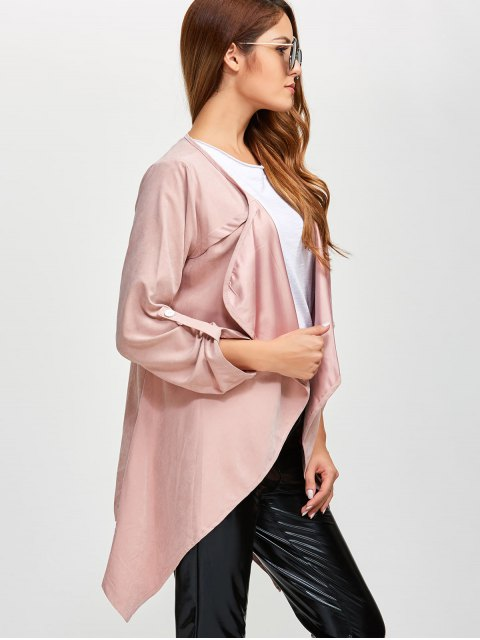 latest Drape Front Coat - PINK 5XL Mobile