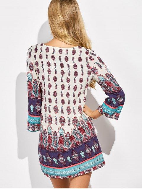 shops Retro Print Tunic Dress - COLORMIX 2XL Mobile