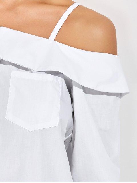 fashion Cold Shoulder Button Up Blouse - WHITE M Mobile