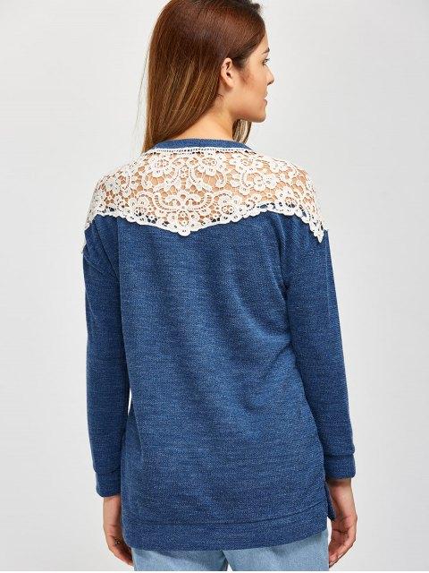 online Lace Spliced Slit Sweater - BLUE L Mobile