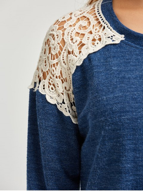 new Lace Spliced Slit Sweater - BLUE M Mobile