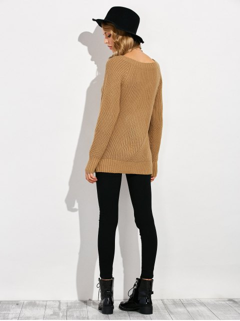 fashion Ripped Chunky Crew Neck Sweater - BROWN 2XL Mobile