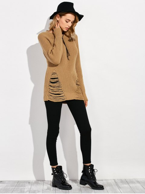 chic Ripped Chunky Crew Neck Sweater - BROWN XL Mobile