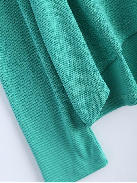 unique Cold Shoulder Turtle Neck Knitwear - GREEN M Mobile
