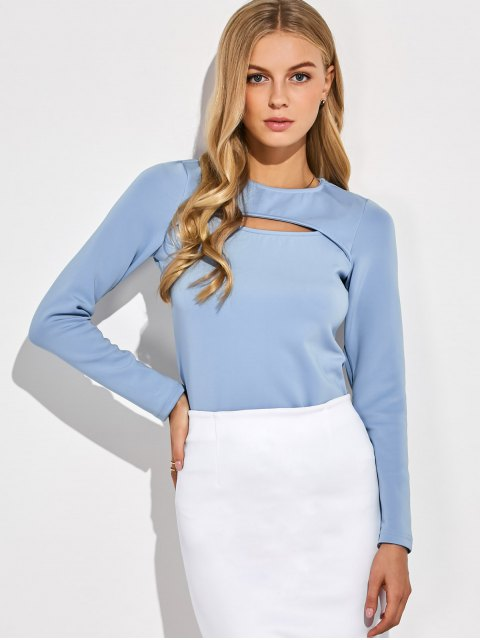 new Long Sleeves Cutout Tee - BLUE GRAY L Mobile