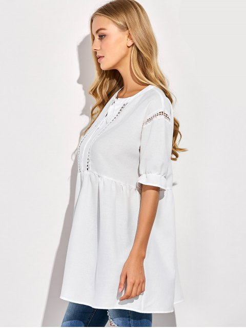 hot Oversized Cut Out Blouse - WHITE 2XL Mobile