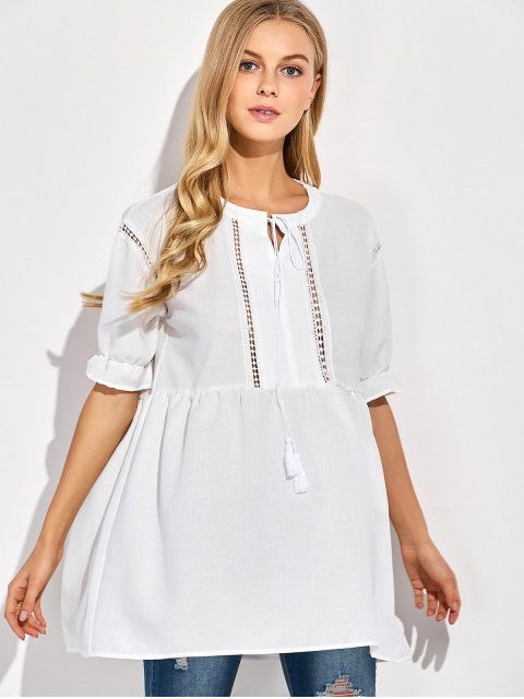 shop Oversized Cut Out Blouse - WHITE M Mobile