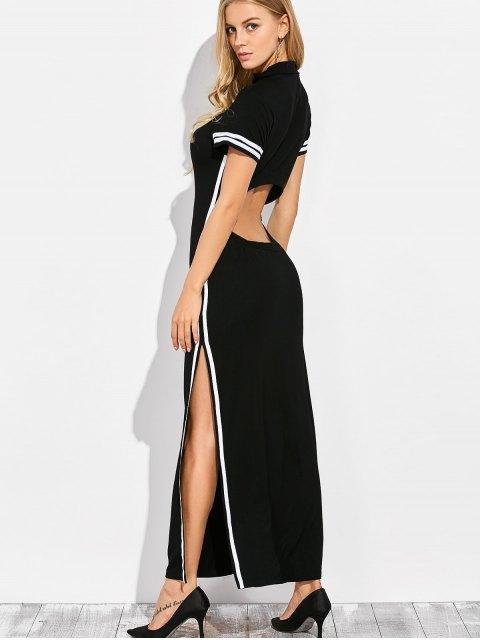 outfits Cut Out Side Slit Maxi Dress - BLACK XL Mobile