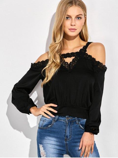 lady Cold Shoulder Lace Panel Blouse - BLACK XL Mobile