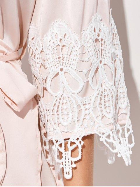 ladies Lace Spliced Cosy Kimono - PINKBEIGE M Mobile