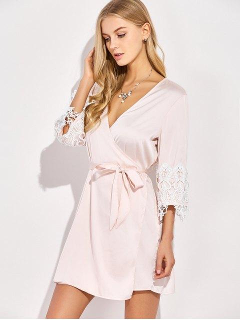 lady Lace Spliced Cosy Kimono - PINKBEIGE S Mobile