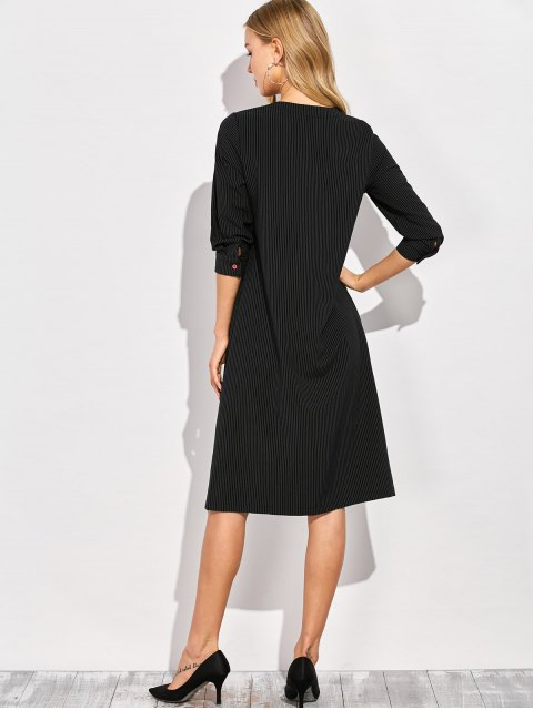 online Single-Breasted Striped A-Line Dress - BLACK XL Mobile