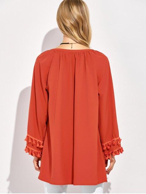fancy V Neck Tassel Blouse - RED L Mobile