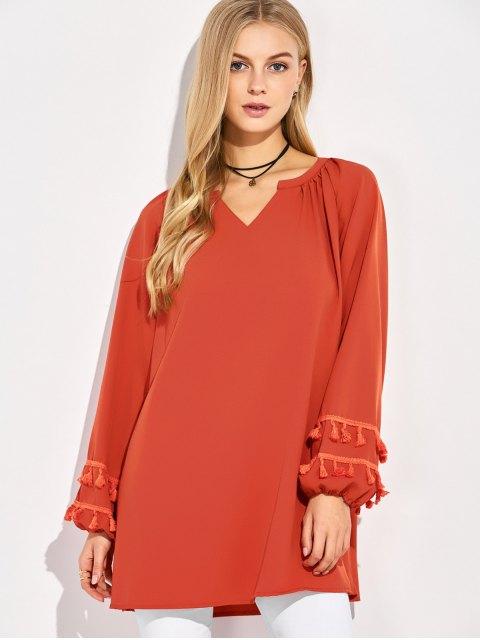 unique V Neck Tassel Blouse - RED M Mobile
