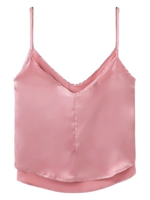 fashion Adjusted Satin Camisole - DEEP PINK S Mobile